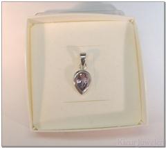 Zilveren hanger met druppelvormige amethist