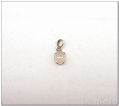 Zilveren hanger met cabochon rozenkwarts