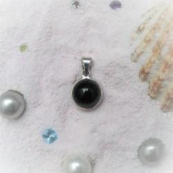 Zilveren hanger met zwarte...