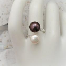 Verstelbare ring met witte...