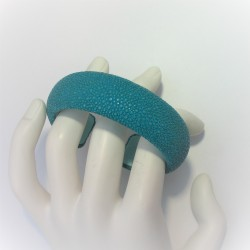 Roggenleren armband turkoois
