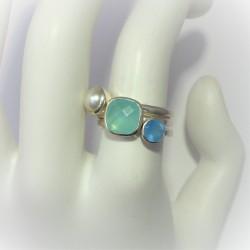 Moderne zilveren ring met...