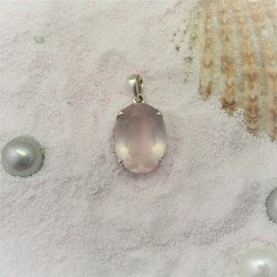 Zilveren hanger met ovale...