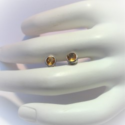 Zilveren oorstekers citrien...