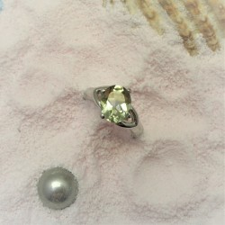 Ring met ovale groene amethist